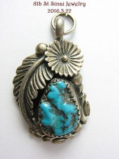 Early Unsigned Southwestern Sterling Silver 925 Turquoise Flower Feather Pendant #Unbranded #Pendant