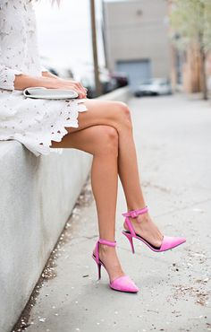 a pop of pink for an all-white ensemble.