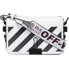 Off-White White diagonal Binder Clip Mini cross body bag (€620) ❤ liked on Polyvore featuring bags, handbags, shoulder bags, white, white shoulder bag, leather cross body purse, white leather crossbody, white leather shoulder bag and leather shoulder handbags