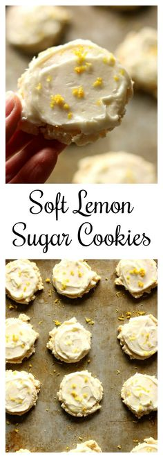 Soft Lemon Sugar Cookies--you'll never want plain old sugar cookies again after you try these! The lemon flavor is obvious but does not overtake the cookie. The cookie is soft and almost like a cross between sugar cookie and shortbread. The frosting is a must and ties everything together in a beautiful and delicious bow. I dare you to just eat ONE cookie. It's impossible. #cookies #dessert #lemon