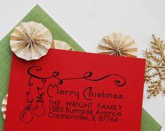 Christmas Return Address Stamp Custom Christmas by ThePrintMint