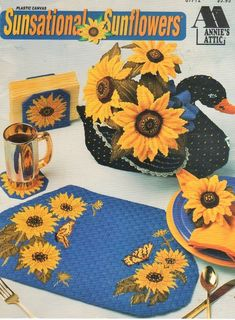 This is a plastic canvas pattern for making pretty sunflower kitchen decor.  Some of the things you can make are placemats & a teapot air freshener cover.