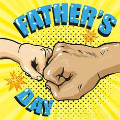 Happy fathers day poster in retro comic style pop vector image on VectorStock