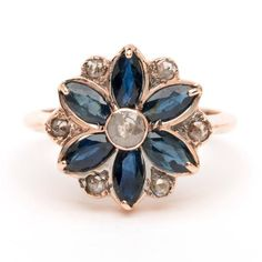 Flower Mandala Ring - Sapphire and Rose Cut Diamonds