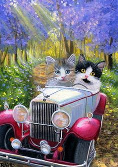 Kittens cat car spring trees flowers road sunlight original aceo painting art #Miniature