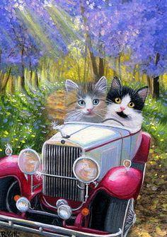 Kittens cat car spring trees flowers road sunlight original aceo painting art #Miniature