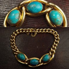 Love the shades of blues and greens in these turquoise stones. On a nice chunky gold curb link bracelet circa 1900. New to the site. CJAntiquesLtd.com #antique #gold #turquoise #bracelet #antiquejewelry #jewelryofinstagram