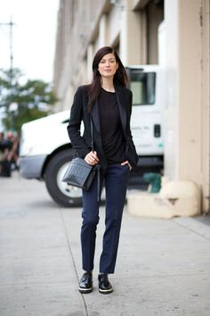 Larissa Hoffman is inspired by the boys in trousers and brouges, topped off with a tuxedo blazer.   - HarpersBAZAAR.com