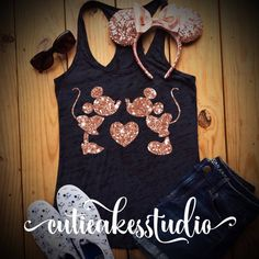 This adorable tank is perfect for a fun day at a Disney Park and the comfortable tank is lightweight and cool for wearing during the summertime. The glitter on the shirt really sparkles!! *available in: Burnout tank (ladies sizes only)-$24.99 Racerback tank-$19.99 T-shirt -$19.99 Unisex tanks-$24.99
