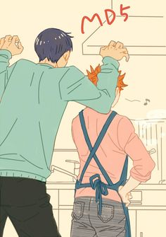 Grab him while he's not watching! Adorable Kagehina!