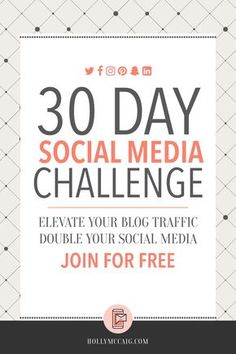 Wondering why your social media following is at a standstill? What about your blog traffic? Not budging? Join my FREE 30-Day Social Media Challenge to change that! https://hollymccaig.com/get-more-blog-traffic/?utm_campaign=coschedule&utm_source=pinterest