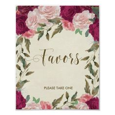 Favors sign wedding bridal shower floral
