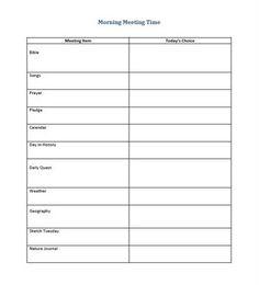 Circle Time/ Morning Meeting planning page