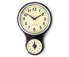 Farmhouse Fresh Black Retro Wall Clock with Timer at Big Lots.