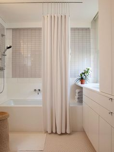Floor To Ceiling Shower Curtain Using A Track Dont Want Drill Into The New Tub Tile And Hate Tension Rods So This Is Perfect