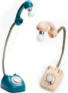 Rotary phone turned into desk lamp