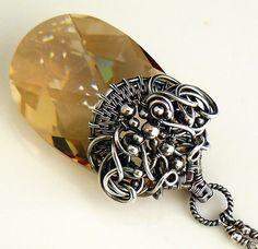 Golden shadow  OOAK wire wrapped swarovski by atelierblaauw, $225.00
