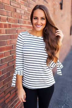 Grey/Ivory Striped Tie Sleeve Top - Dottie Couture Boutique