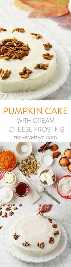 Spice up your autumn menu with this delicious alternative to pumpkin pie. Fragrant with cinnamon and nutmeg, the moist cake is balanced with cream cheese frosting and elegantly decorated with pepitas, (Fall Recipes Cards) Just Desserts, Delicious Desserts, Dessert Recipes, Yummy Food, Pumpkin Recipes, Fall Recipes, Holiday Recipes, Christmas Recipes, Pumpkin Dessert