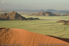 Green grass, mountains and sand dunes in the desert @ Namib Naukluft National Park in #Namibia Visit www.safaribookings.com/namib-naukluft for a #Namib Naukluft travel guide with user reviews and travel tips.