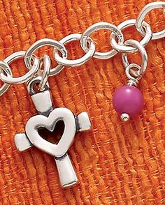 Summer Collection - Centered in Love Charm, Dark Pink Glass Enhancer Bead shown on Forged Link Charm Necklace #JamesAvery