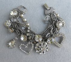 Rhinestone Assemblage Charm Bracelet Statement Mixed by Vinchique, $95.00