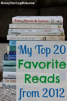 Top 20 Favorite Reads in 2012 from MoneySavingMom.com -- lots of great book ideas to add to your book list for 2013!