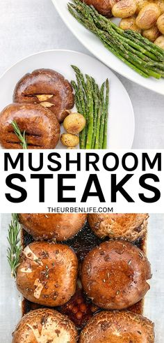 Quick and easy vegan mushroom steaks recipe! Perfect for dinner paired with asparagus and potatoes. #vegandinner #veganmeal #easyvegan #veganrecipe #veganfood #dairyfree #glutenfree