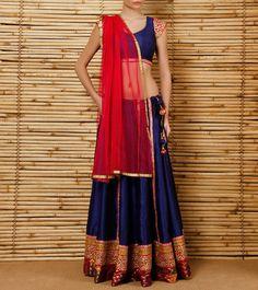 Blue Dupion Silk #Lehenga Set #Indianroots