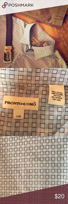 💙 Pronto Uomo Dress Shirt Men's size L Pronto Uomo long-sleeved button-down dress shirt in excellent condition! Classy yet trendy print! All of my items come from my smoke-free home. Bundle and save!!! Pronto Uomo Shirts Dress Shirts