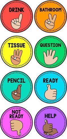 Hand Signals {Editable} Editable Hand Signals for Classroom Management Classroom Behavior, Primary Classroom, Future Classroom, Classroom Themes, Classroom Activities, Decorating Ideas For Classroom, Year 3 Classroom Ideas, Kindergarten Classroom Organization, Classroom Libraries
