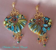 INDIAN SPIRIT shibori silk earrings/shibori silk by PerlineeBijoux