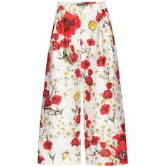 Dolce & Gabbana Floral Printed Cotton and Silk Culottes (€755) ❤ liked on Polyvore featuring pants, capris, flower print pants, white pants, multi color pants, dolce gabbana pants and multi colored pants