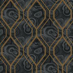 Malachite Trellis Wallpaper in Grey and Black design by York Wallcover | BURKE DECOR