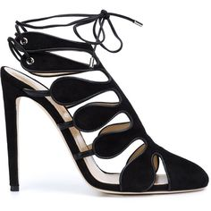 Chloe Gosselin strappy pumps ($1,205) ❤ liked on Polyvore featuring shoes, pumps, heels, black shoe, black, heels stilettos, lace pumps, black pointy toe pumps, black stilettos and black stiletto pumps