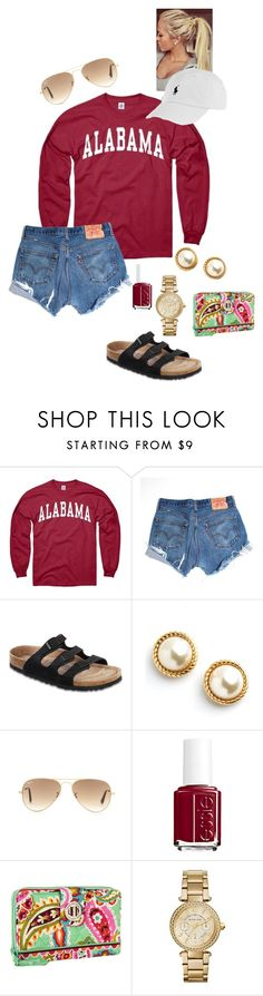 """""""Love my Alabama boy❤️"""" by anna-watson00 ❤ liked on Polyvore featuring Levi's, Birkenstock, Kate Spade, Ray-Ban, Essie, Vera Bradley and Michael Kors"""