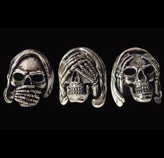 Steel 3 Skull Ring Set-Speak, Hear, See No Evil Skulls-Custom Size-Inc Shipping #Handmade #Statement3SkullSet