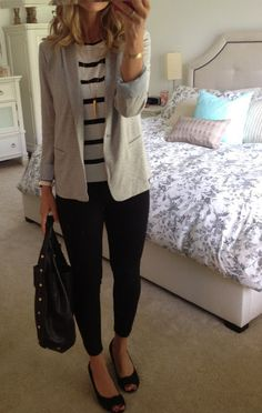 Grey Blazer + Striped Top + Gold Necklace + Black Pants + Wedges + Black Handbag // Four Seasons Style