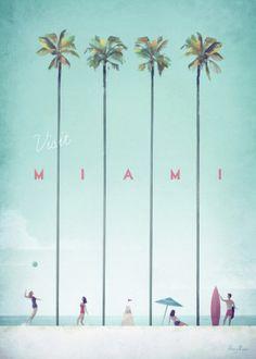 Vintage travel poster of Miami, Florida. Original Miami Beach vintage travel poster by Henry Rivers. Buy a premium poster online! Minimal Travel, Retro Poster, Kunst Poster, Travel Illustration, Digital Illustration, Art Graphique, Poster Prints, Art Prints, Vintage Travel Posters