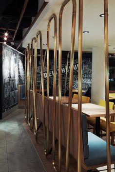 Interior design by jean de lessard. designers créatifs Divider, Designers, Restaurant, Interior Design, Room, Furniture, Home Decor, Design Interiors, Homemade Home Decor