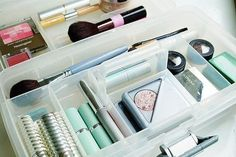 Tips for Organizing Your Dorm Room: Use clear containers to keep things in plain sight