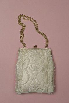 Ivory Beaded Wedding Purse Vintage
