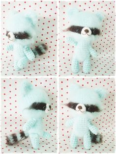 minty blue stuffed raccoon by Ami Cafe