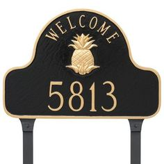 Montague Metal Products Pineapple Welcome One Line Address Plaque Finish: Brick Red/Silver