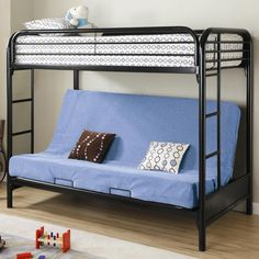 C2250k Kids Black Twin over Futon Bunk Bed with Guard Rails | New $699 SALE $380.25 Friends Discounted Price $285.19