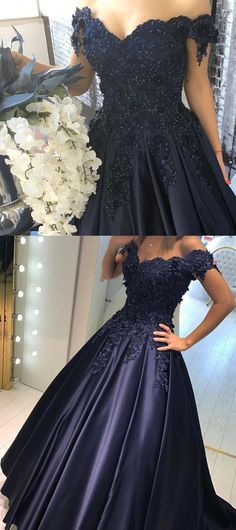 Elegant Evening Gowns Lace Appliques,Off Shoulder Prom Dress,Navy Blue Ball Gowns