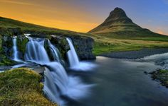 Waterfalls of Snaefellsnesog Hnappadalssysla, Iceland - Waterfall at Sunset by aevarg, via Flickr