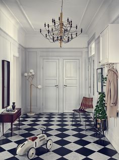 Foyer flooring inspiration - black & white checkered tile (Desire To Inspire) Stockholm Apartment, Apartment Interior, Home Interior, Interior And Exterior, Apartment Entrance, Interior Stylist, Style At Home, Foyer Flooring, Appartement Design