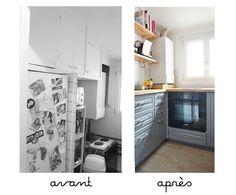 AdC l'Atelier d'à Côté : aménagement intérieur, design d'espace et décoration: --- Projet Avant/Après --- Une petite salle d'eau rose et une mini cuisine grise