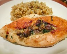 Spinach-Stuffed Chicken Breasts with Mushrooms